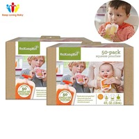 1 Box Single Use Food Pouch Packaging Squeeze Plastic Smoothie Bags Refillable Fresh Storage Bag Lid Baby food storage box