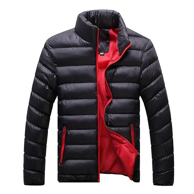 Sólido Outwear Abajo Cubre 2017 Invierno Caliente Moda Para Hombre A Prueba de Viento de Pie Cremallera Cuello Acogedor Algodón Chaqueta de la Capa Ocasional Más El Tamaño