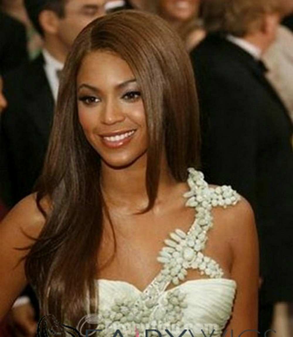 Beyonce Hairstyle Silky And Sleek Side Part Brown Or Natural Color