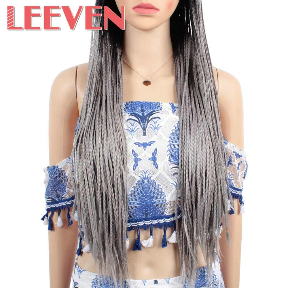 Leeven Длинные Синтетические парики для фронта шнурка плетеные парики для афроамериканских женщин Черные Серые плетеные парики термостойкие волосы