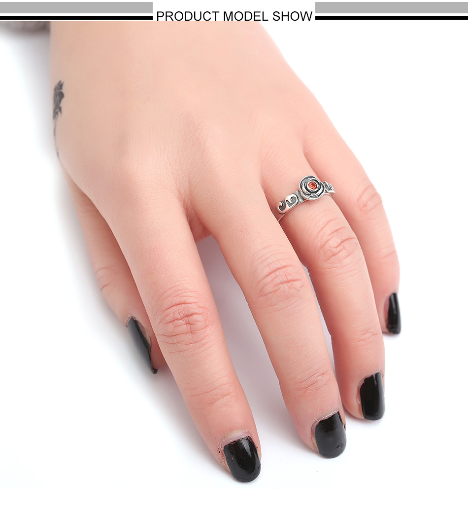 JOUVAL 925 Sterling Silver Gothic Rose Flower Ring CZ Open Finger ...