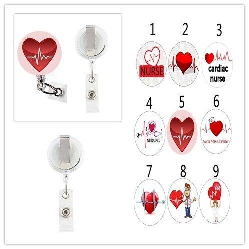 ソートハートビート看護師心臓ナース格納式 ID バッジリール金属クリップ 10 ピース/ロット