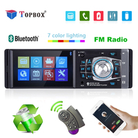 Topbox 1 Din Car Radio Auto Audio Stereo FM Bluetooth 2.0 Support Rear View Camera USB Steering Wheel Remote Control