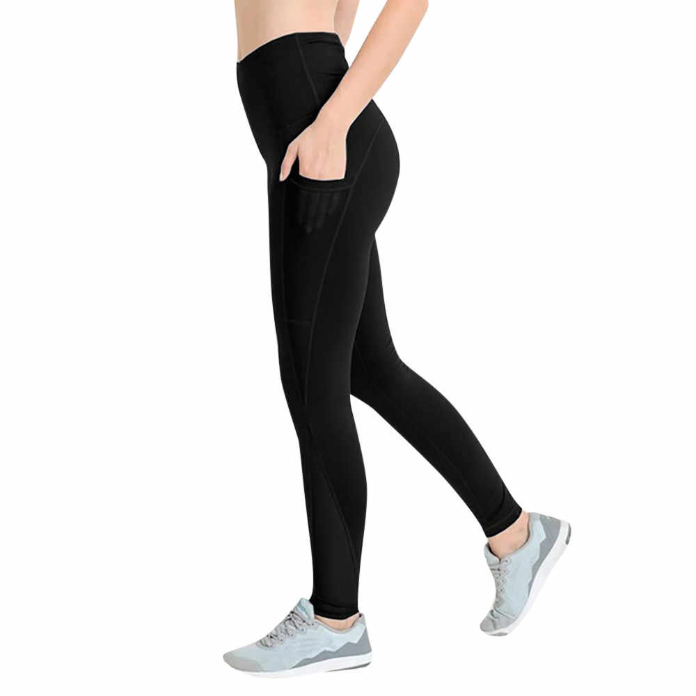 e739dcc37d8b2 yoga pants Women's Workout Leggings Fitness Sports Gym Running Yoga  Athletic Pants With Pocket jogging ropa