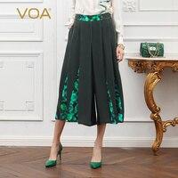 VOA тяжелый шелк Для женщин свободные брюки дамы Подрезанные штаны Повседневное большой Размеры осень Армейский зеленый принт Boho одноцветно