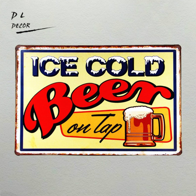DL Wall art Ice cold beer On Top Painting Retro plate signs wall ...