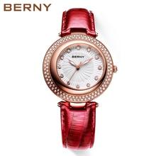 BERNY 2017 New Fashion brand leather strap Diamond quartz women watches ladies dress Female Casual Gold Watches