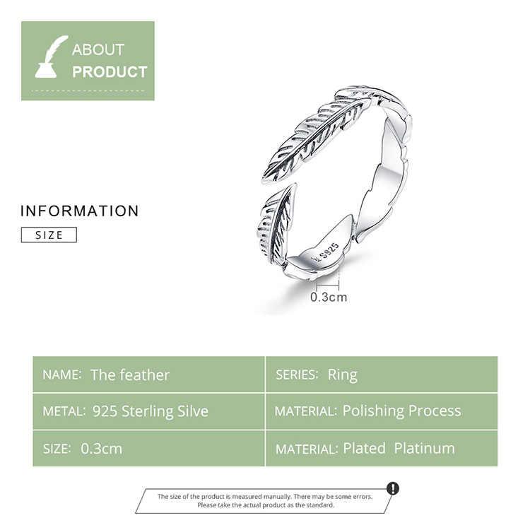 BAMOER 100% 925 เงินสเตอร์ลิง Boho Feather ฟรีขนาดแหวนนิ้วปรับได้สำหรับเครื่องประดับวินเทจ VINTAGE SCR517