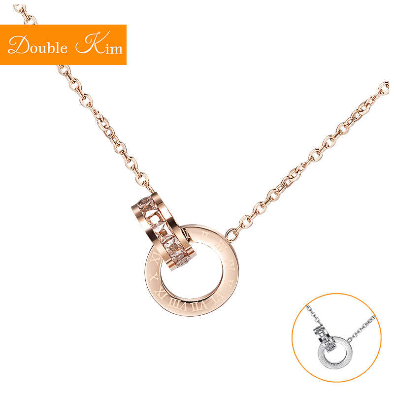 Double Loop Pendant Necklace Titanium Steel Chain Necklace Rose Gold Silver Color Fashion Trendy  Women Jewelry  Birthday Gift