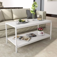 Lifewit Deluxe Rectangular Coffee Table Cocktail Table TV Media Stand White