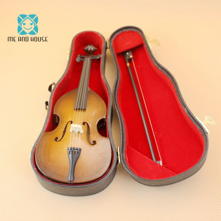 1/6 Scale Dollhouse Cello Dolls Miniature Wooden Violoncello Doll House Handmade Cute Musical Instruments Decoration image