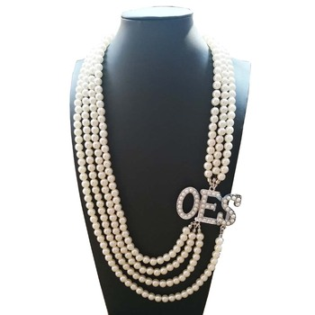 Topvekso African Pearl order of the eastern star  Multilayer Statement Jewelry OES Pearl Necklace
