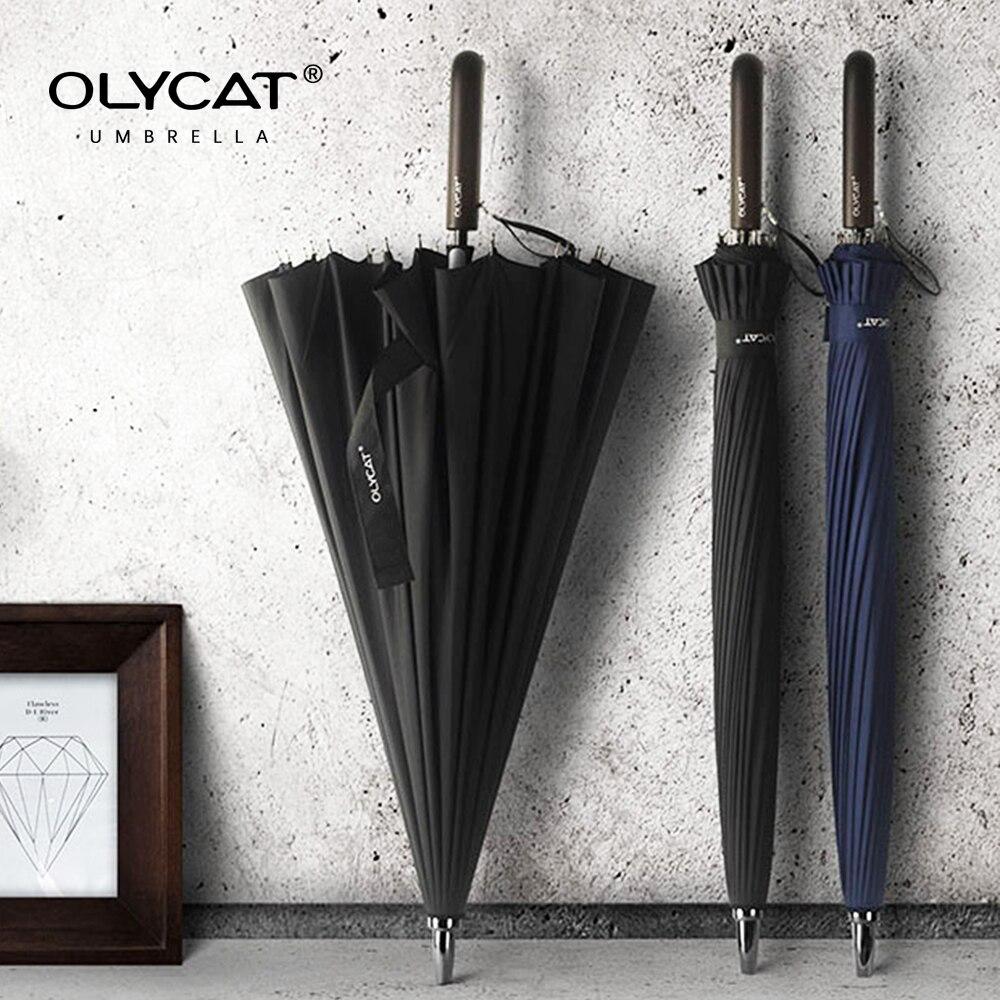 OLYCAT 24K Straight Long Umbrella Windproof Strong Wooden Handle  Rain Umbrella Women Men Business Brand Glassfiber ParaguasUmbrellas