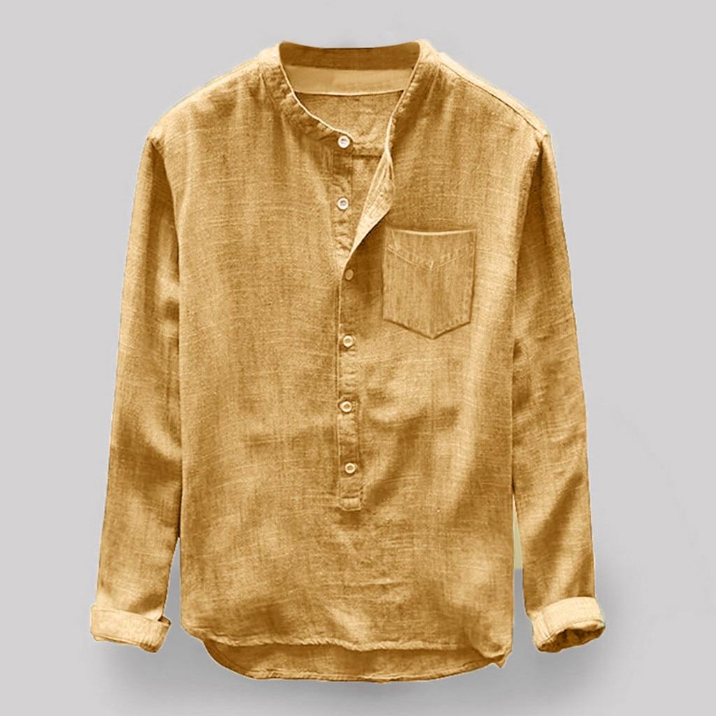 2019 Mens Shirt New Fashion Hot Summer Casual Men Autumn Winter Button Casual Linen And Cotton Long Sleeve Blouse 40