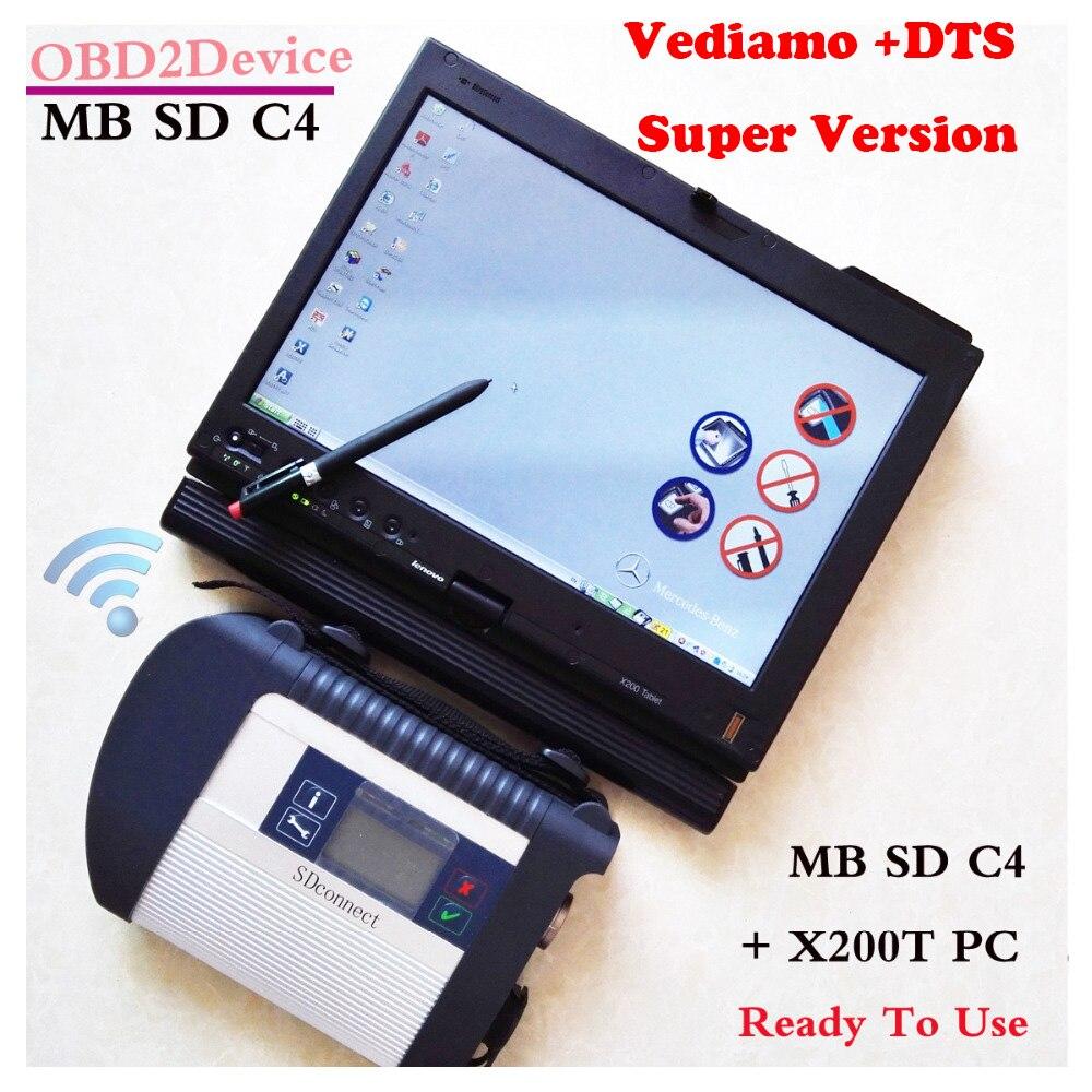 Conseillé Top Qualité Mb Star C4 + V2018-12 Date Logiciel Complet + Ordinateur Portable Lenovo X200t Écran Tactile Mb Étoiles Sd Connecter c4/CF19