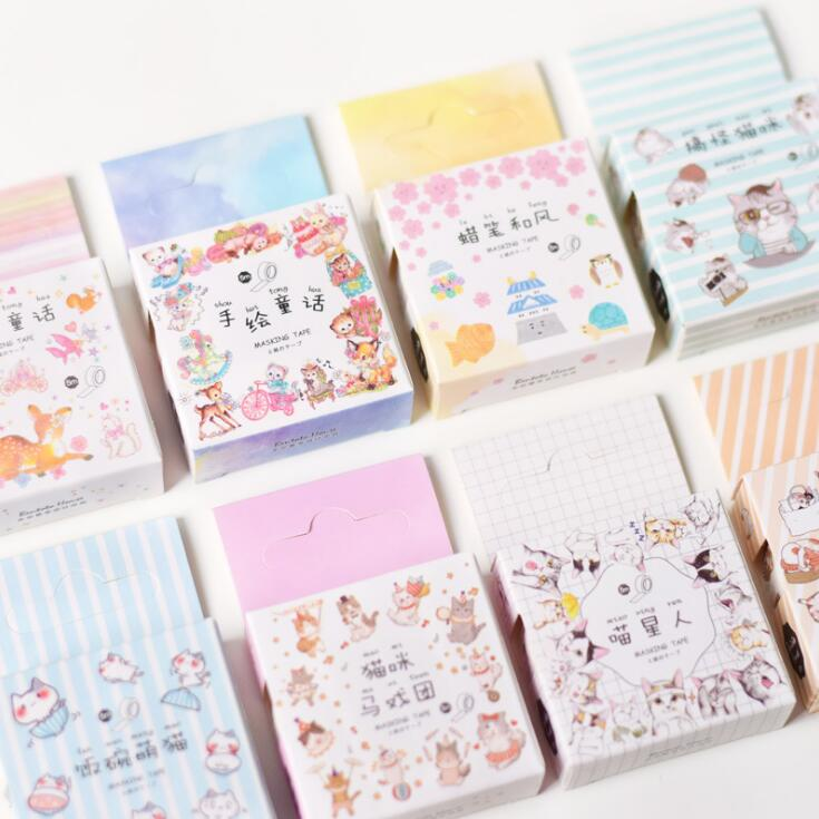 Hand-Painted Fairy Tales Washi Tape Adhesive Tape DIY Scrapbooking Sticker Label Masking Tape love sumikko gurashi washi tape adhesive tape diy scrapbooking sticker label masking tape