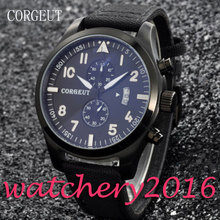 Simple Corgeut 46mm date adjust black dial PVD Case Stainless Steel White numbers Quartz Mechancial Mens Wristwatches