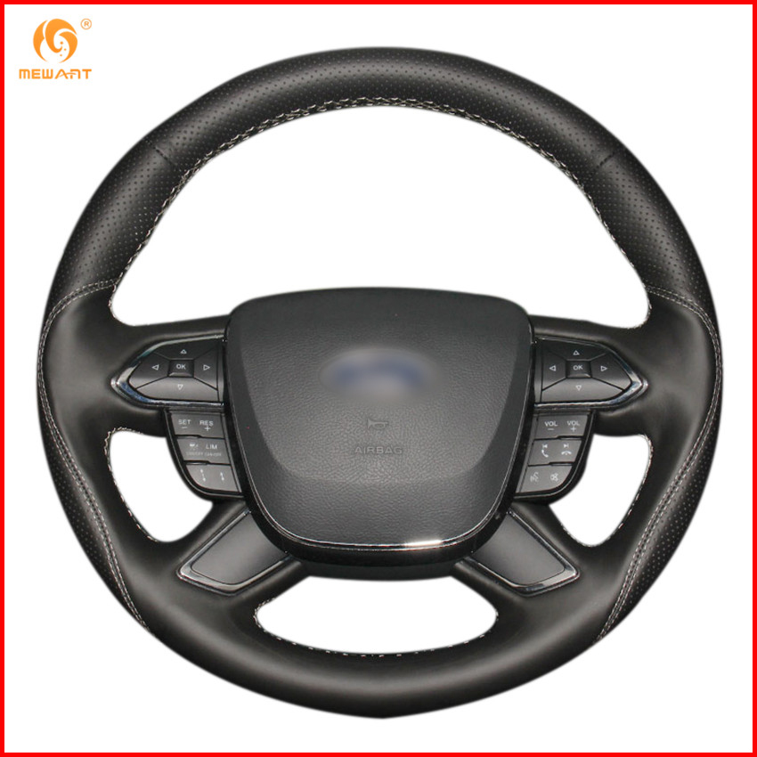 2017 Ford Taurus Interior: MEWANT Black Genuine Leather Car Steering Wheel Cover For