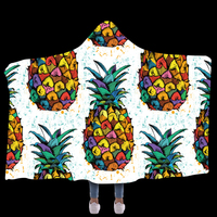 Anti Samely Scarves & Wraps Hooded Blanket 3D Print Pineapple fruit hooded poncho scarf shawl manteau femme hiver