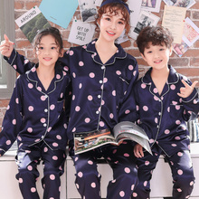 Childrens Silk Pajamas Girls Spring Long-sleeved Trousers Autumn Matching Outfits Cartoon Family Clothes Mommy and Me