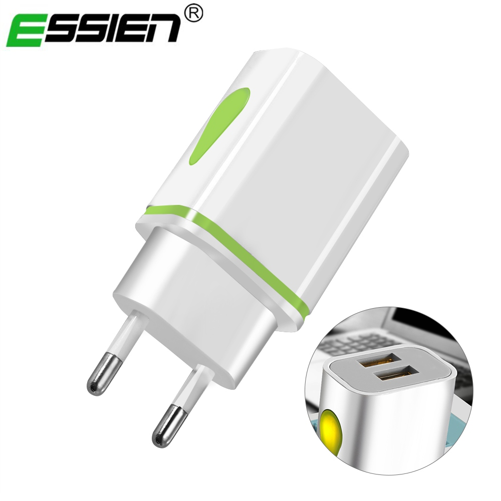 Essien Universal USB Charger for iPhone iPad 2 Ports USB Wall Travel LED Charger Adapter For Samsung EU Charger for Xiaomi Redmi