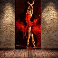 Dropshipping oil painting HandPainting Ballet Girl Palette Knife Oil Painting On Canvas Wall Picture For Living Room Home Decor