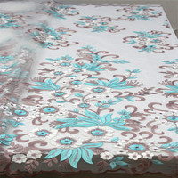 Blue lace fabric sewing supplies wholesale african french lace fabric high quality with African Embroidery Lace Fabric H960