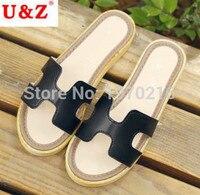 2016 Fashion Women Shoes Anti Slip Footwear Black White Green Orange Summer Slippers Classic Matte Leather