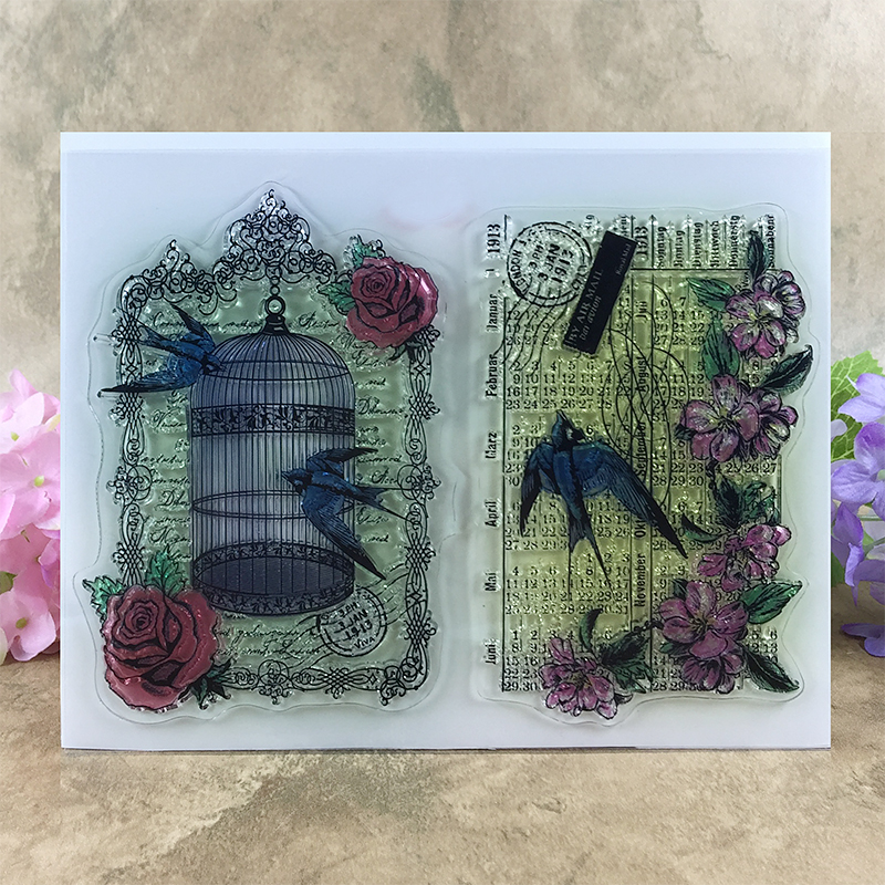 Spring Rose and Flower Cage Swallow Scrapbook DIY photo cards account rubber stamp clear stamp transparent stamp  14*18 CM scrapbook diy photo cards account rubber stamp clear stamp finished transparent chapter wall decoration 15 18