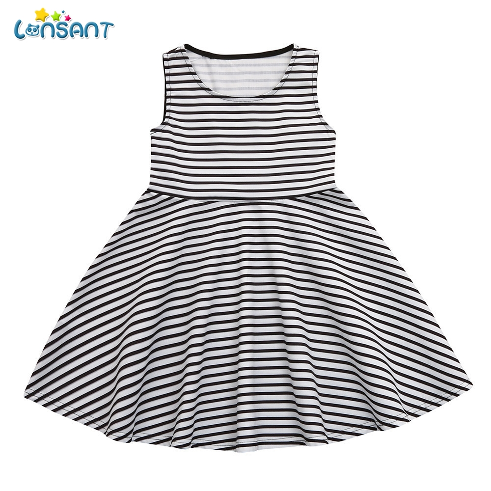 LONSANT New Fashion Summer Mommy Me Girl Striped Print Black Sundress Vest Sleeveless Slim Dress Comfortable Clothes