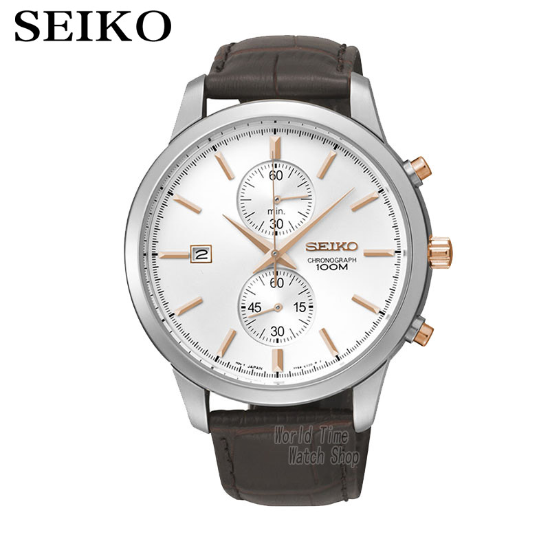 SEIKO Watch Chronograph Watches Quartz Watches Business Casual Belt Watches SNN277J1 seiko watch premier series sapphire chronograph quartz men s watch snde23p1