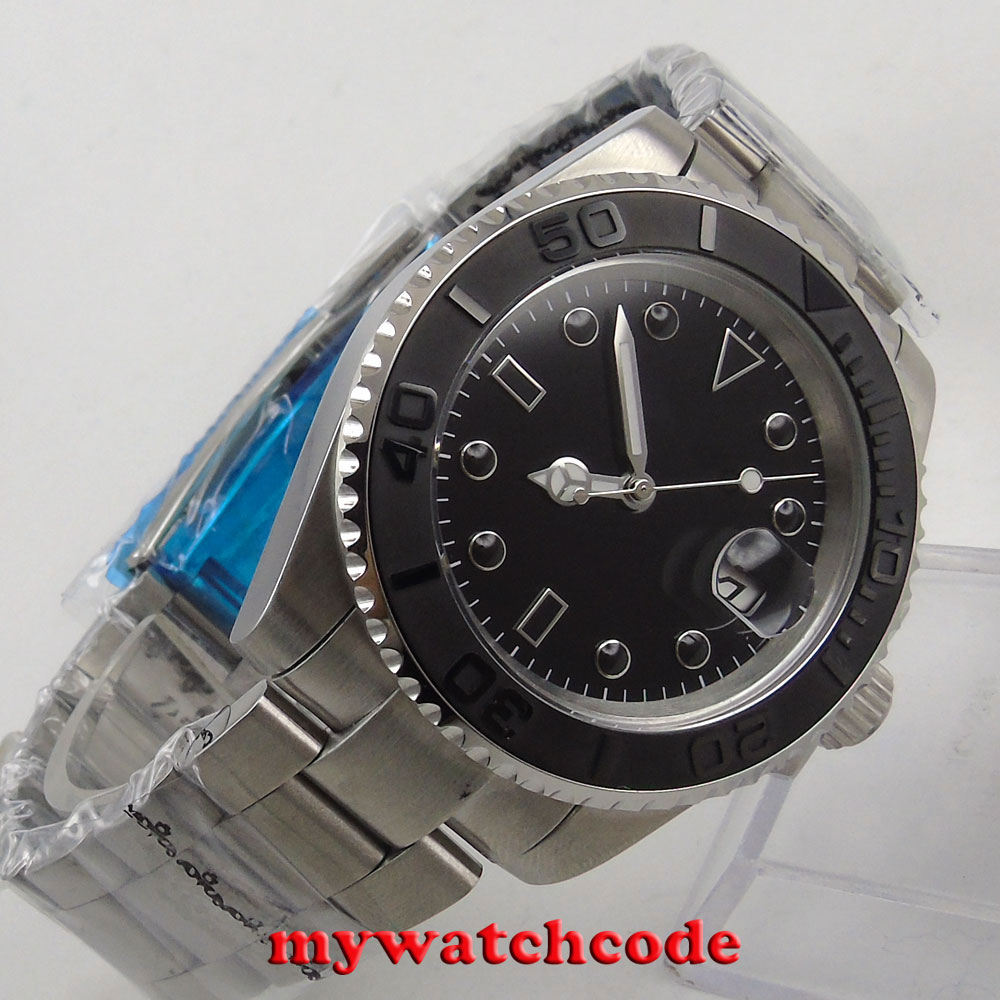 40mm sterile black sterile dial ceramic bezel sapphire glass automatic mens watch40mm sterile black sterile dial ceramic bezel sapphire glass automatic mens watch