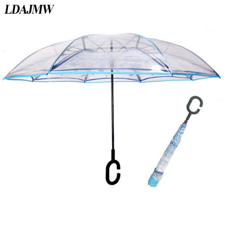 LDAJWM Transparent Reverse Umbrella Double Layer Cherry Blossoms Inverted Umbrella Rain Women C-Hook Windproof Folding Parasol