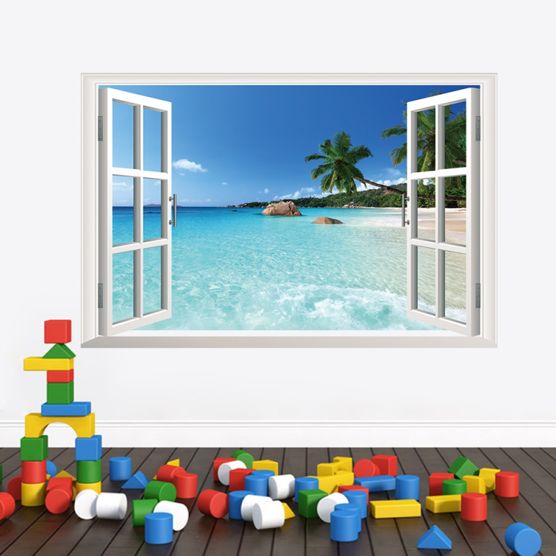 2018 Tree Ocean Beach 3d Windows DIY Wall Stickers Living Room Decoration Home Decals Sea Landscape Mural Art Posters Hot Sale