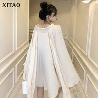[XITAO] Single Breasted Women Fashion New Stand Collar Full Sleeve Shirt Female Solid Color Bandage Swallow Tail Blouse WBB1463