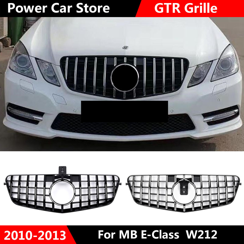 <font><b>W212</b></font> GT Chrome <font><b>Grill</b></font> front Grille Prefacelift For <font><b>Mercedes</b></font> E class <font><b>w212</b></font> AM-G sedan Front Racing <font><b>Grill</b></font> Sport E320 E350 E400 C207 image