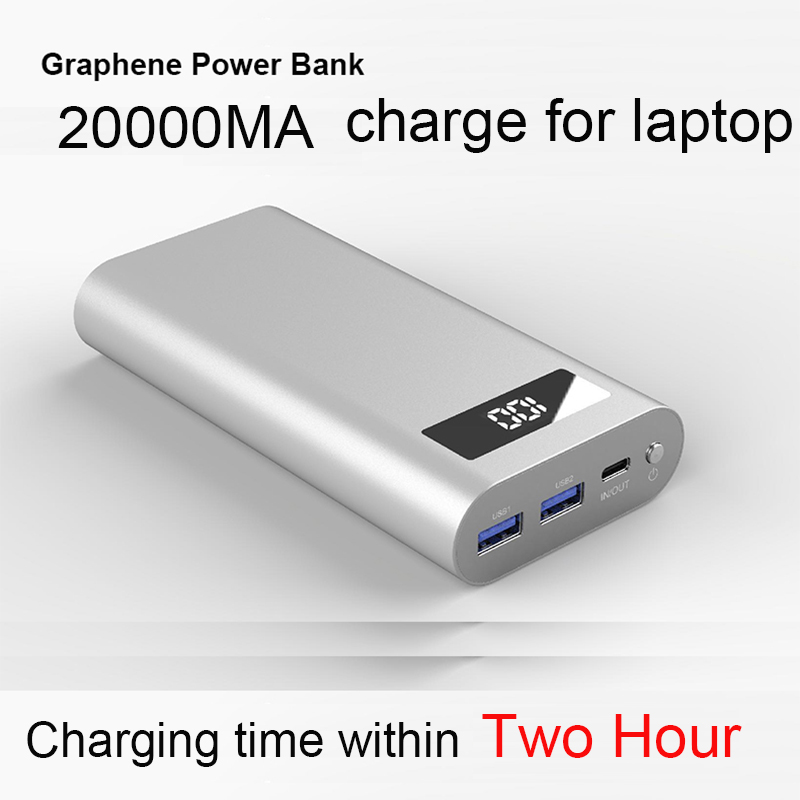 RIY Graphene Battery Portable Laptop Power Bank 20000MAH 2 Hour fully charged with 60W Adapter Charger Type C QC 3.0 PD 18W|Power Bank| |  - title=