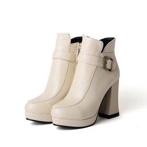 Image 4 - Botas Mujer grande taille nouveau bout rond boucle bottes pour femmes Sexy cheville talons mode hiver printemps automne chaussures décontracté Zip T730 1