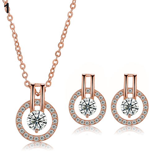 New Arrival Women's Zircon Round Pendent Choker Chain Necklace Earrings Wedding Jewelry Set Fashion Leader' Choice 13