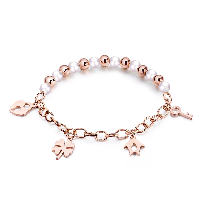 Japanse en Koreaanse Rose Gouden Armband Meisjes Eenvoudige Persoonlijkheid Liefde Sleutel Meisjes Luxe Sieraden Geschenken