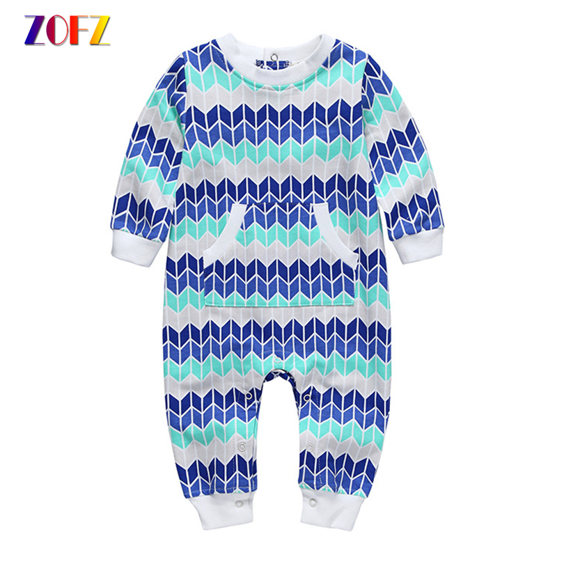 ZOFZ Baby Boys Rompers Printed Cotton Jumpsuit Girls O-Neck Long Sleeve One Piece Bebes Romper New Born Baby Clothes
