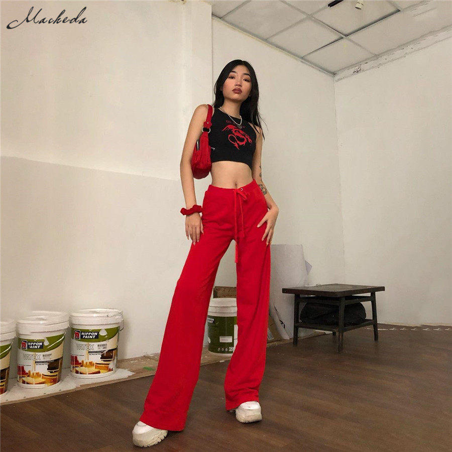 Macheda Women Casual Loose Flare Pants Red Mid Waist Elastic Trousers Lady Fashion Spring Autumn Streetwear Full Length 2019