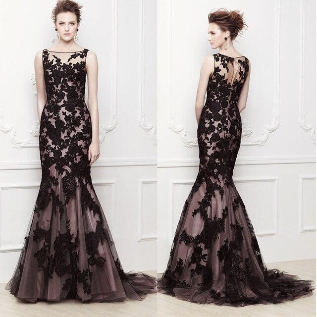 2015 Hot Long Lace Black Appliques Mermaid Prom Dresses Plus Size Women  Formal Dress To Income Elegant Gown Vestido de Festa 72b9b5e3c27d