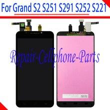 Czarny 100% nowy pełna wyświetlacz LCD + ekran dotykowy Digitizer zgromadzenie dla ZTE Grand S2 S 2 II S251 S291 s252 S221 darmowa wysyłka
