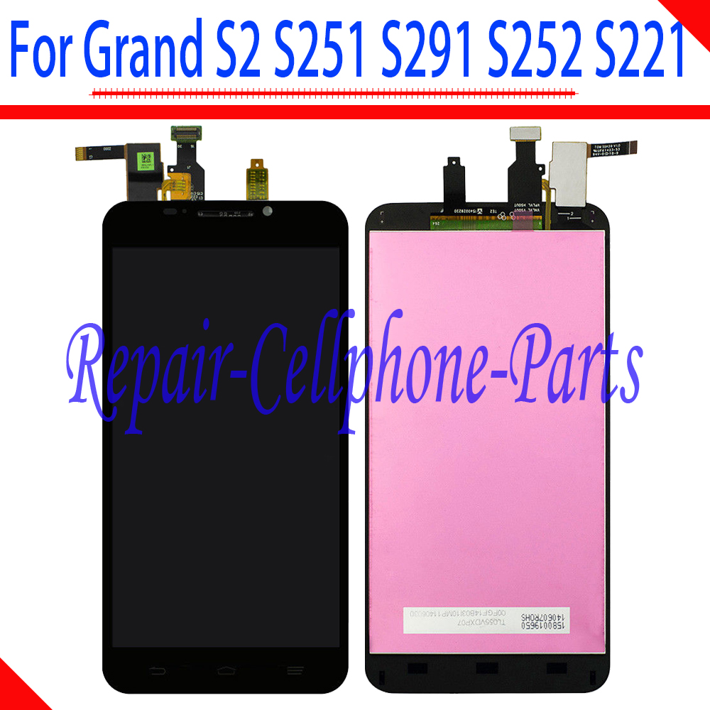 Preto 100% Novo DIsplay LCD Full + Touch Screen Digitador Assembléia Para ZTE S291 Grande S2 S 2 II S251 S252 S221 Frete Grátis
