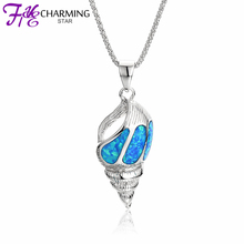 Sea Snail Pendant Fire Blue Opal Jewelry 925 Silver Pendants Fit Necklace Diy Real 925 Sterling Silver Pendant For Women SPI174W