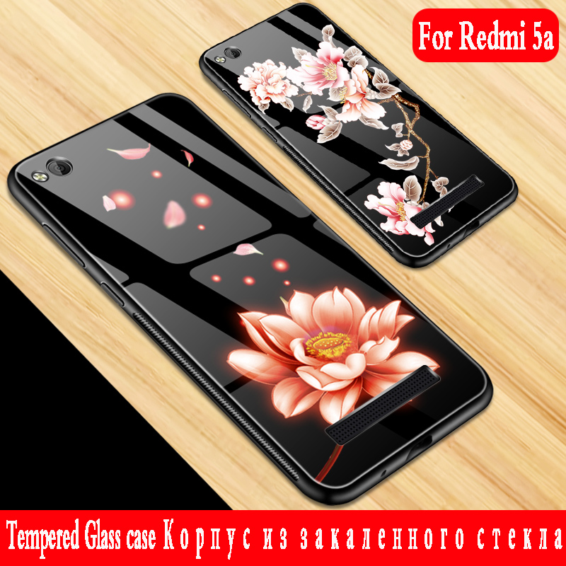 For xiaomi redmi 5A case Luxury Tempered Glass Hard Back Cover Soft TPU Silicone Bumper for xiaomi redmi 5a Cover funda 3d armor