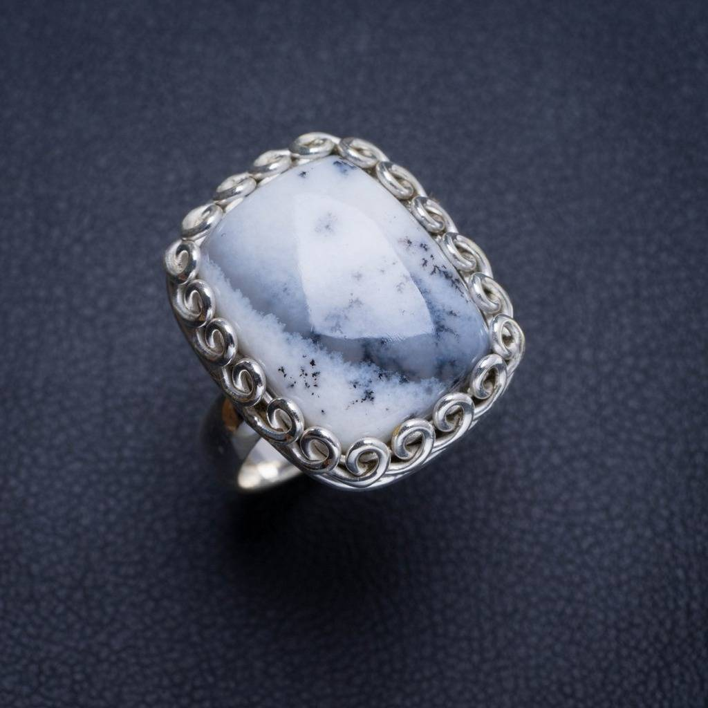 Natural Dendritic Opal Handmade Unique 925 Sterling Silver Ring 6.5 Y4505 natural dendritic opal handmade unique 925 sterling silver ring us size 7 75 x1648