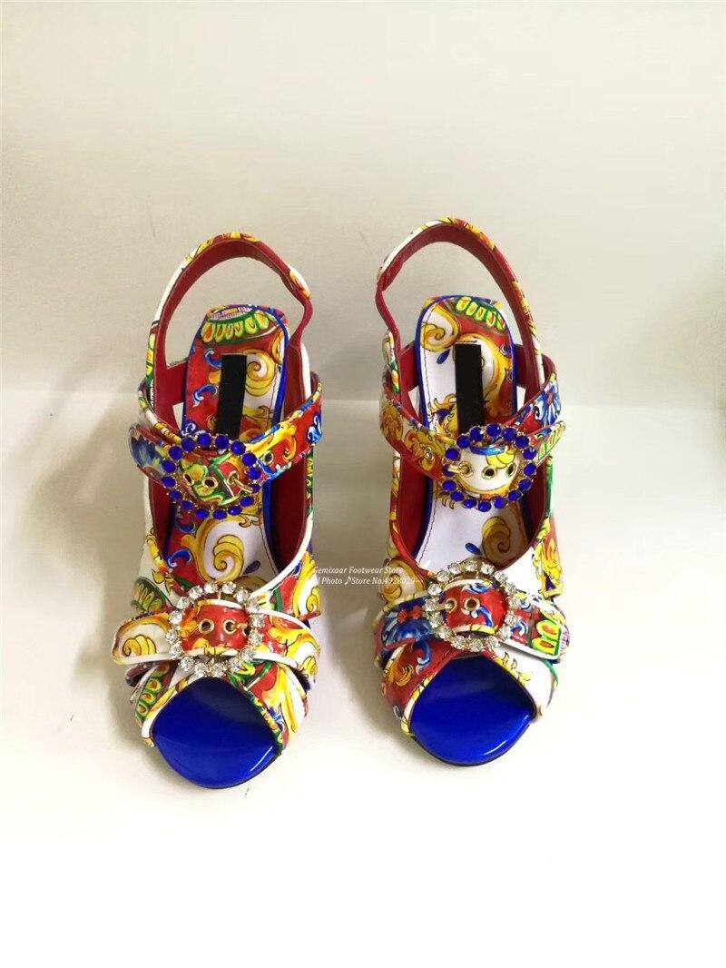 Graffiti Sandales chaussures femme Peep Toe décor bijoux étroite cheville boucle Sandales Chic coloré Chunky talons carrés Sandales femmes - 6