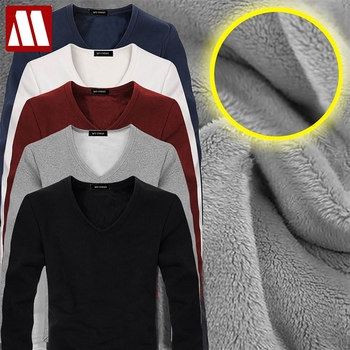 2021 High Quality Autumn Winter Mens Warm Thermal tshirt Man Long Sleeve Casual V Neck Velvet Thick Plus Thick T-Shirt Male Tees